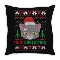 Meh Christmas Meow Ugly Christmas Throw Pillow Designed By Akin