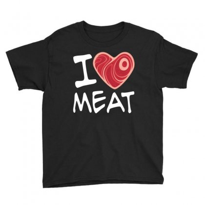 I Love Meat - White Text Version Youth Tee Designed By Fizzgig