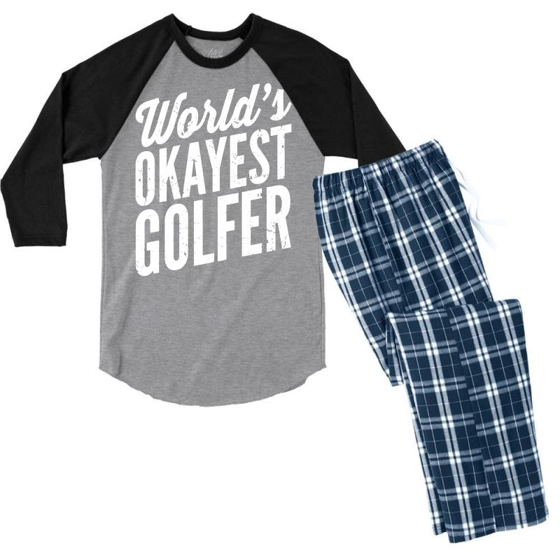 World's Okayest Golfer Men's 3/4 Sleeve Pajama Set | Artistshot
