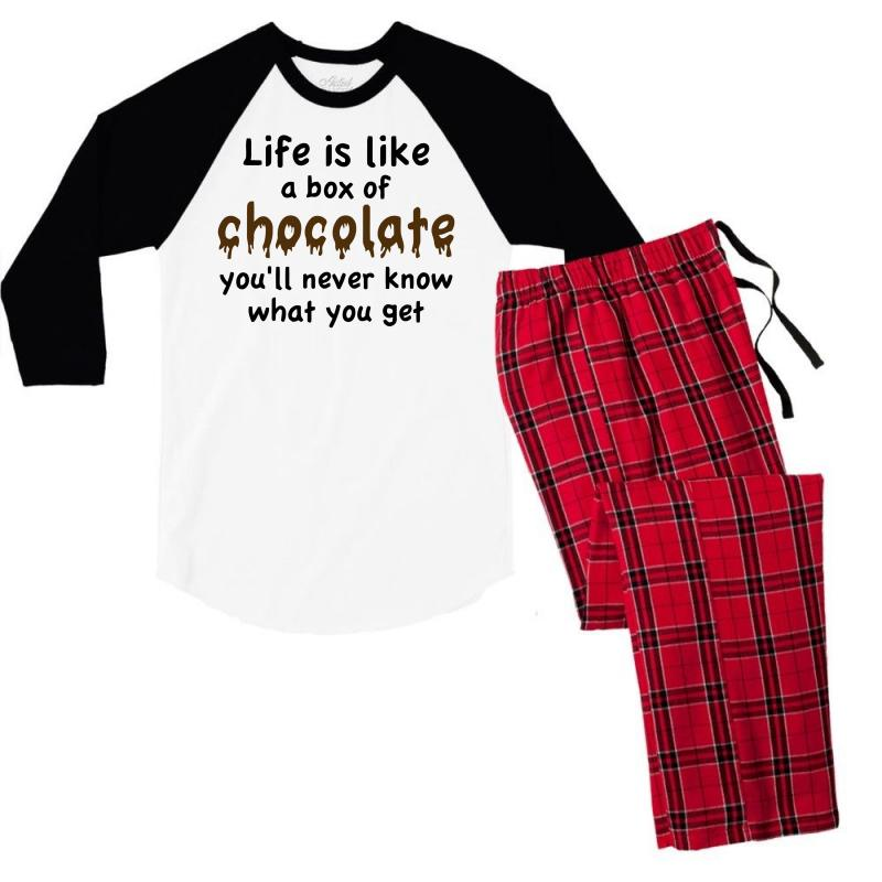 43f4250528c5 Custom Life Is Like A Box Of Chocolate Men s 3 4 Sleeve Pajama Set ...