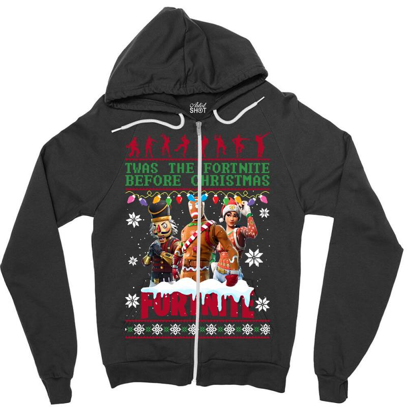 f7f6edad fortnite christmas season twas the fortnite before christmas Zipper Hoodie