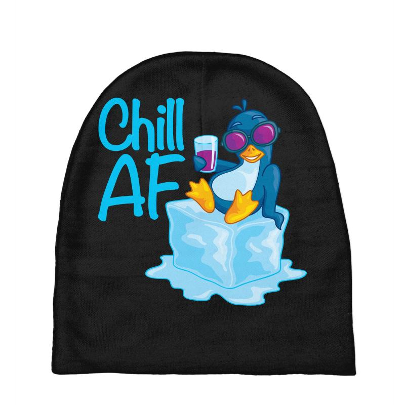 8e650baa0dbe2 Custom Chill Af Penguin On Ice Baby Beanies By Fizzgig - Artistshot