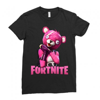 Fortnite Pink Teddy Bear Ladies Fitted T-shirt