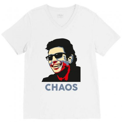 Ian Malcolm Chaos V-neck Tee Designed By Wizarts