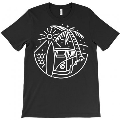 Van, Surf, And Beach (for Dark) T-shirt Designed By Quilimo