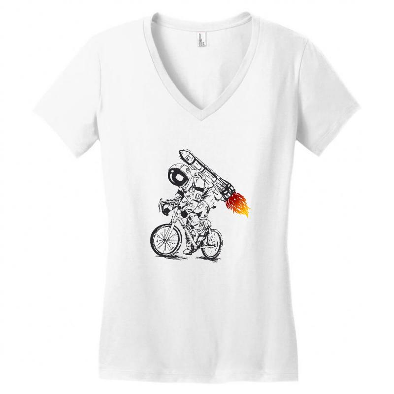 63ebdd745 Custom Astronaut Bicycle Women's V-neck T-shirt By Tee Shop - Artistshot