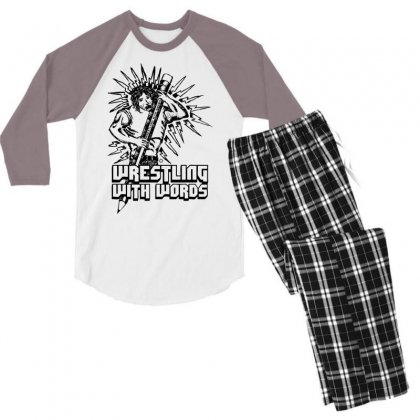 Wrestling With Words Men's 3/4 Sleeve Pajama Set Designed By Specstore