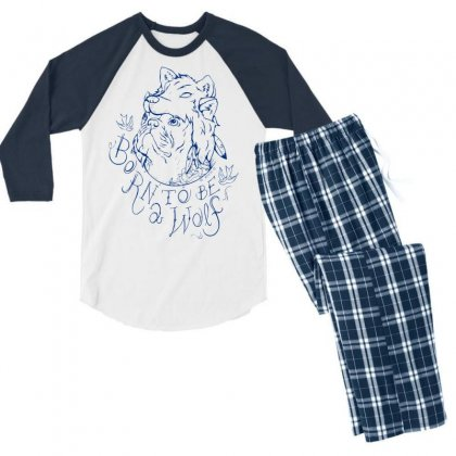 Born To Be A Wolf Men's 3/4 Sleeve Pajama Set Designed By Specstore