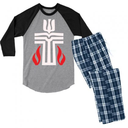 Holy Sunday Easter Logo Men's 3/4 Sleeve Pajama Set Designed By Specstore