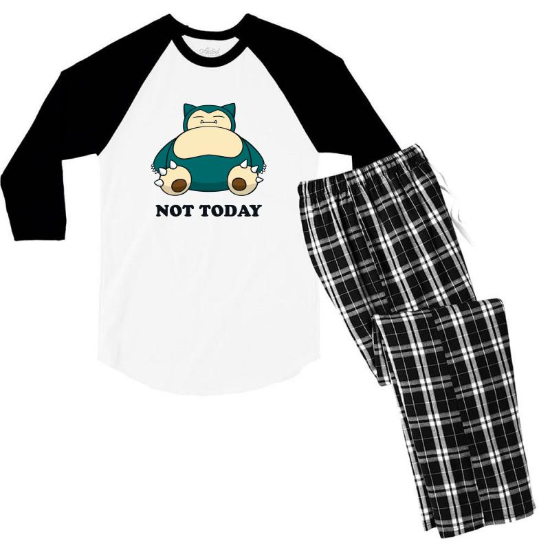 307bb8e0 Custom Snorlax Not Today For Light Men's 3/4 Sleeve Pajama Set By ...