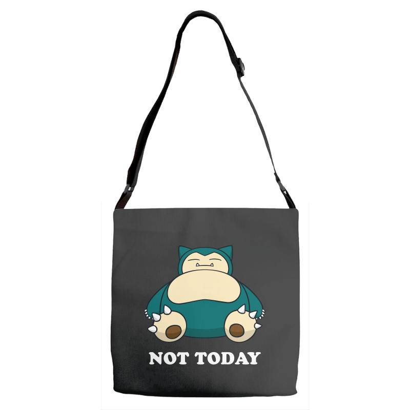 Custom Snorlax Not Today For Dark Adjustable Strap Totes By Sengul ... 8f0c9e31c