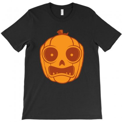 Frightened Halloween Jack-o-lantern T-shirt Designed By Fizzgig