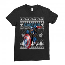 captain america man christmas ugly Ladies Fitted T-Shirt | Artistshot