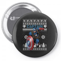 captain america man christmas ugly Pin-back button | Artistshot