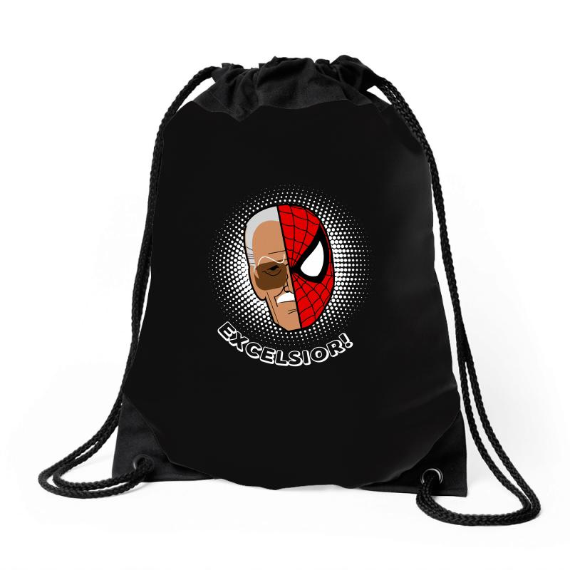 Stan Lee Spiderman Excelsior For Dark Drawstring Bags | Artistshot