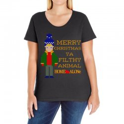 merry christmas ya filthy animal home alone Ladies Curvy T-Shirt | Artistshot