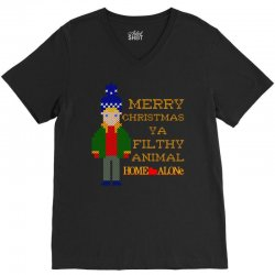 merry christmas ya filthy animal home alone V-Neck Tee | Artistshot