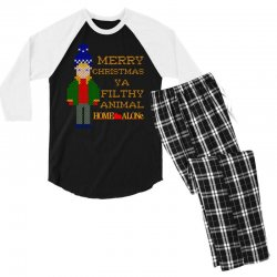 merry christmas ya filthy animal home alone Men's 3/4 Sleeve Pajama Set | Artistshot