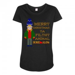 merry christmas ya filthy animal home alone Maternity Scoop Neck T-shirt | Artistshot