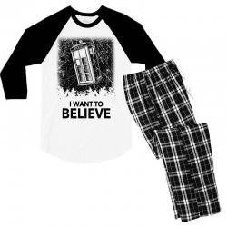 i want to believe tardis for light Men's 3/4 Sleeve Pajama Set | Artistshot