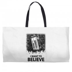i want to believe tardis for light Weekender Totes | Artistshot