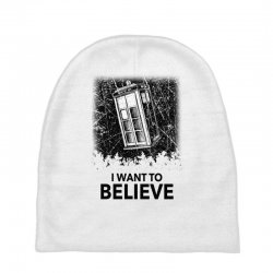 i want to believe tardis for light Baby Beanies | Artistshot