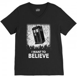 i want to believe tardis for dark V-Neck Tee | Artistshot