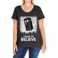 i want to believe tardis for dark Ladies Curvy T-Shirt | Artistshot