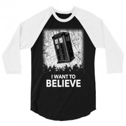 i want to believe tardis for dark 3/4 Sleeve Shirt | Artistshot