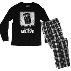 i want to believe tardis for dark Men's Long Sleeve Pajama Set | Artistshot