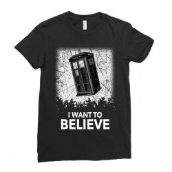 i want to believe tardis for dark Ladies Fitted T-Shirt | Artistshot