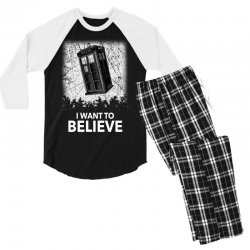 i want to believe tardis for dark Men's 3/4 Sleeve Pajama Set | Artistshot
