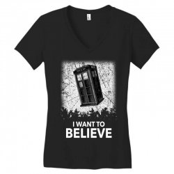 i want to believe tardis for dark Women's V-Neck T-Shirt | Artistshot