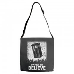 i want to believe tardis for dark Adjustable Strap Totes | Artistshot