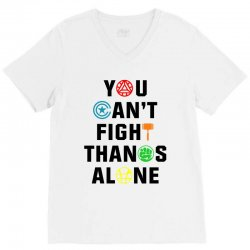 you can't fight thanos alone black V-Neck Tee | Artistshot