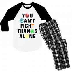 you can't fight thanos alone black Men's 3/4 Sleeve Pajama Set | Artistshot