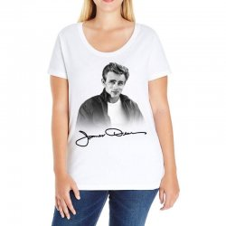 james dean with signature Ladies Curvy T-Shirt | Artistshot
