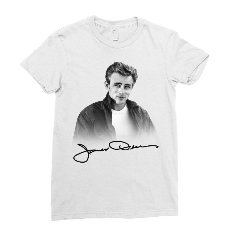 James Dean With Signature Ladies Fitted T-shirt | Artistshot