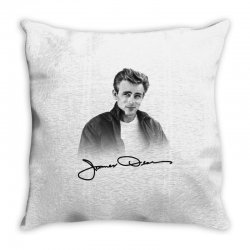 james dean with signature Throw Pillow | Artistshot