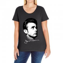 james dean with signature v.2 Ladies Curvy T-Shirt | Artistshot