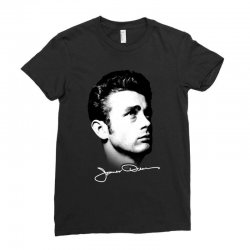 james dean with signature v.2 Ladies Fitted T-Shirt | Artistshot