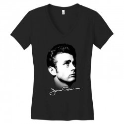 james dean with signature v.2 Women's V-Neck T-Shirt | Artistshot