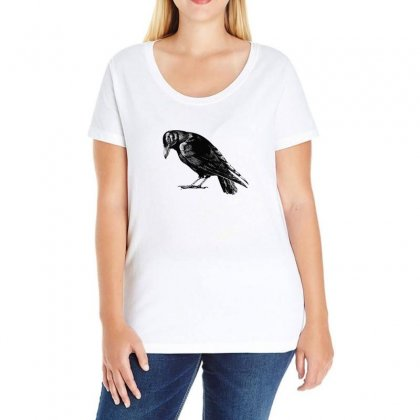 The Crow Ladies Curvy T-shirt Designed By Alpharose
