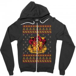 harry potter gryfindor ugly christmas Zipper Hoodie | Artistshot