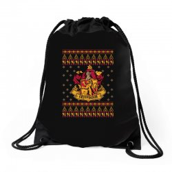 harry potter gryfindor ugly christmas Drawstring Bags | Artistshot