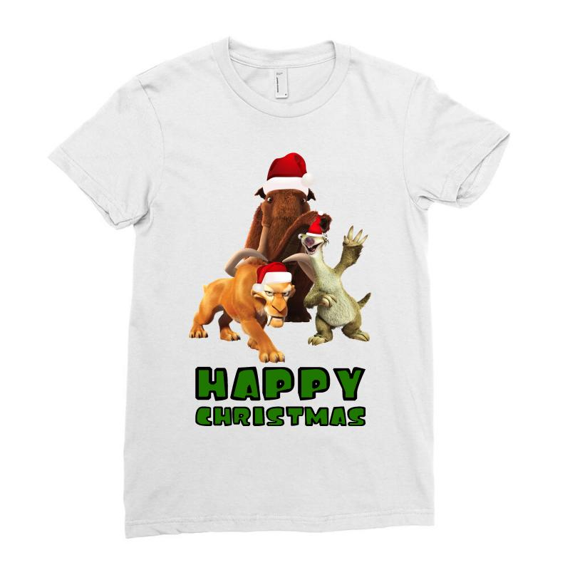 Sid Manfred Diego Happy Christmas For Light Ladies Fitted T-shirt | Artistshot