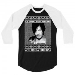 daryl dixon christmas ugly for red 3/4 Sleeve Shirt | Artistshot