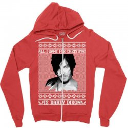 daryl dixon christmas ugly for red Zipper Hoodie | Artistshot