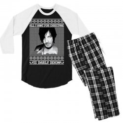 daryl dixon christmas ugly for red Men's 3/4 Sleeve Pajama Set | Artistshot