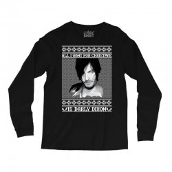 daryl dixon christmas ugly for red Long Sleeve Shirts | Artistshot